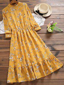 فستان توهج طباعة الأزهار  - خردل L
