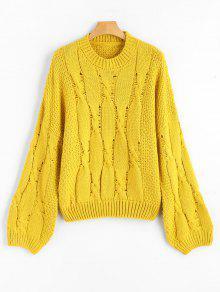 Suéter De Jersey Con Hombros Caídos De Punto De Cable - Amarillo