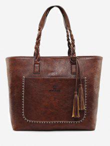 حقيبة توتي بحزام على شكل ضفيرة مزينة بشرابات - براون العميق