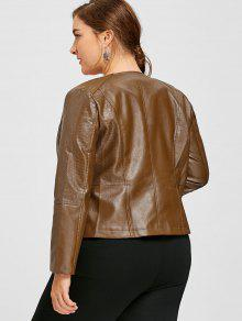 1bcaba681b5 34% OFF  2019 Faux Leather Plus Size Biker Jacket In BROWN