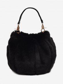 حقيبة يد متعددة الاستعمالات من الفرو - أسود