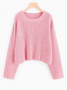 Oversized Faux Pearls Pullover Sweater