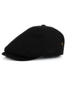 عمودي مخطط نمط مزين قبعة المستكشف - أسود