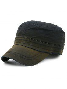 خط نمط التطريز مزين قبعة عسكرية - أسود