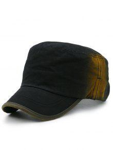خط التطريز التدرج اللون قبعة عسكرية - أسود