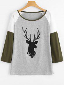 Camiseta Com Manga Raglã E Estampa De Veado Em Contraste - Cinza Claro Xl