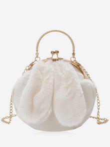 الأرنب الأذن مزين فو الفراء حقيبة يد - أبيض