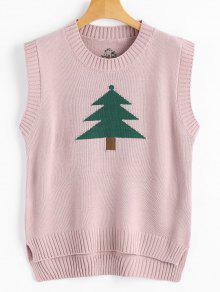 Chaleco Con Diseño De Hendidura Lateral Y Gráfico De árbol De Navidad - Rosa