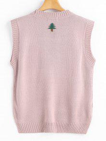 Christmas Tree Graphic Side Slit Sweater Vest PINK: Sweaters ONE ...