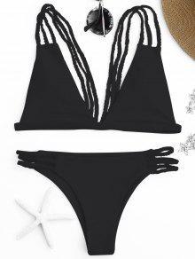 Low Cut Strappy Bralette Bikini - Negro M