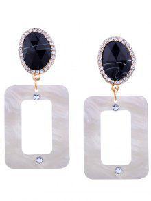 Resin Rhinestone Oval Geometric Earrings - WHITE