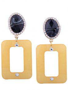 Resin Rhinestone Oval Geometric Earrings - YELLOW