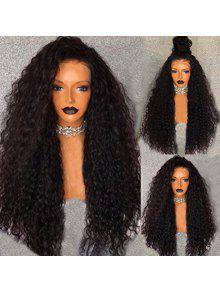 جزء مجاني منفوش طويل موجة المياه الدانتيل الجبهة شعر مستعار الإنسان - الأسود الطبيعي