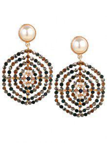 Rhinestone Faux Pearl Hexagon Pendientes - Floral