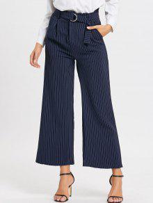 Pantalones De Pierna Ancha Formales De Cintura Alta A Rayas - Azul Xl