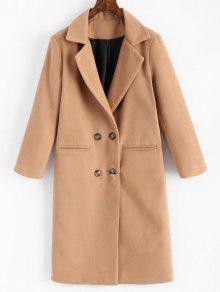 Manteau à Col Tailleur Et Double Boutonnage Avec Poches - Camel Clair S
