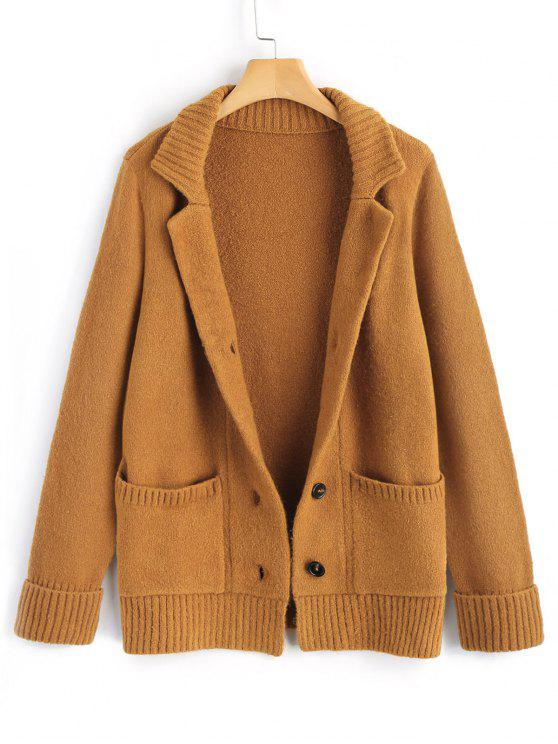 Ribbed Panel Button Up Cardigan LIGHT BROWN: Sweaters M | ZAFUL