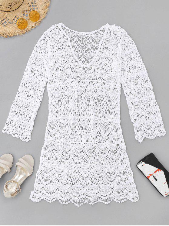 unique Crochet Cover Up Dress - WHITE ONE SIZE