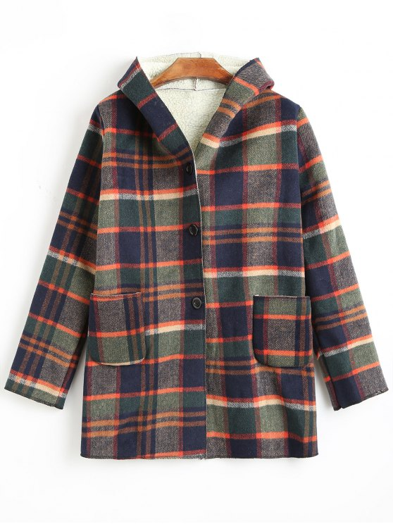 new Button Up Thicken Hooded Plaid Coat - COLORMIX M