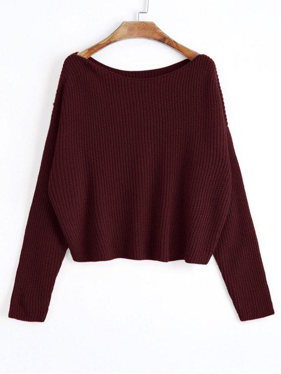 6dda0a4ae136 28% OFF  2019 Oversized One Shoulder Pullover Sweater In WINE RED ...