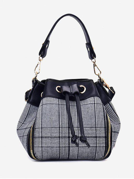 new String Plaid Handbag With Strap - GRAY