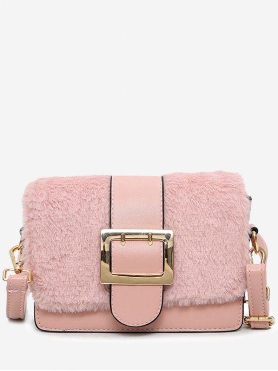 Splicing Buckle Strap Crossbody Bag - Rosa