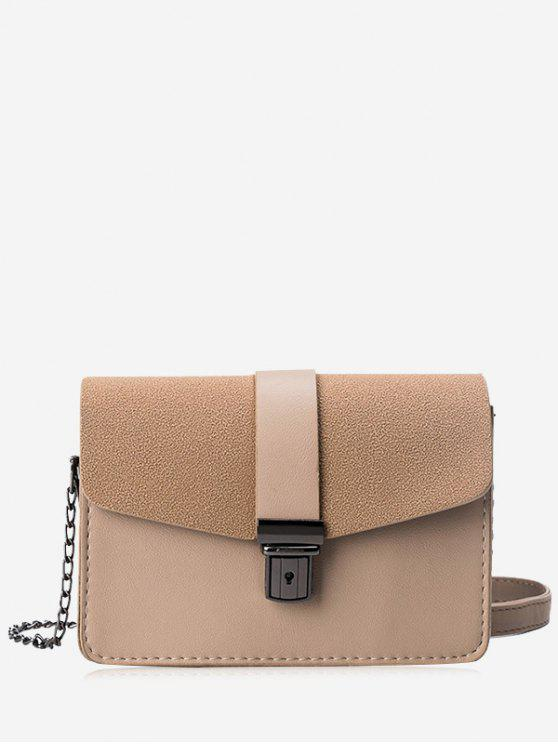 sale Chain Faux Leather Double Side Crossbody Bag - KHAKI