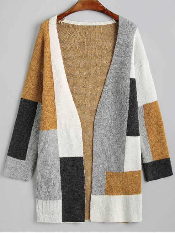 trendy Contrast Open Cardigan with Pockets - MULTI XL