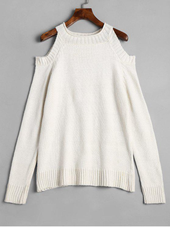 Plain Cold Shoulder Pullover Sweater OFF-WHITE: Sweaters M | ZAFUL