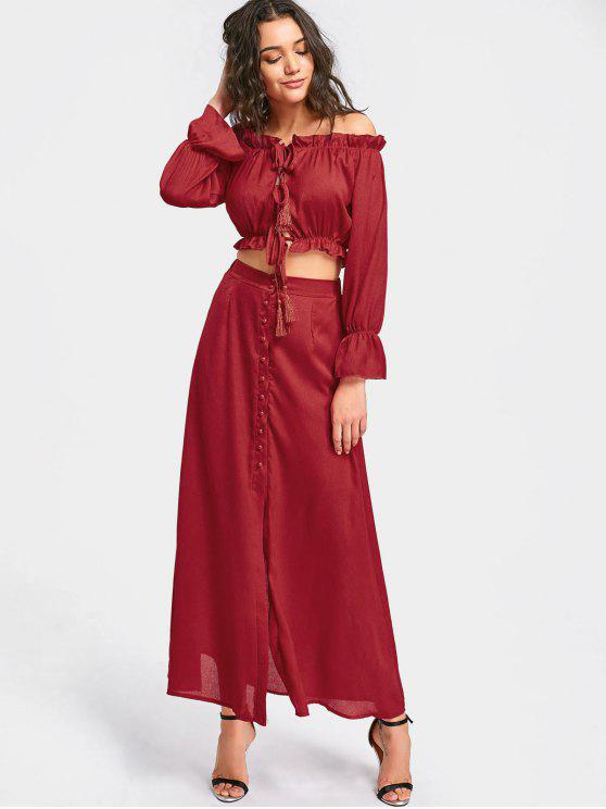lady Ruffled Crop Top and Maxi Skirt Set - DEEP RED S