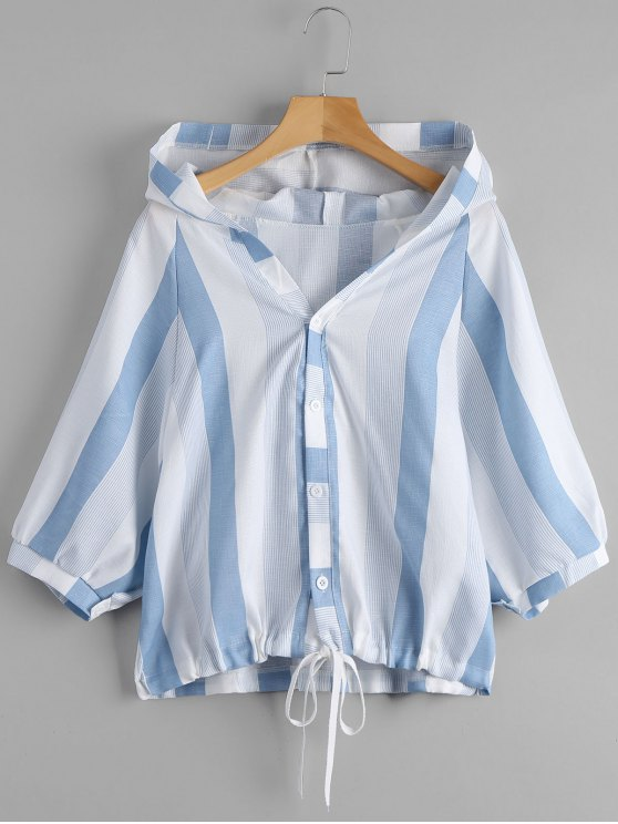 womens Striped Hooded Top - BLUE AND WHITE ONE SIZE