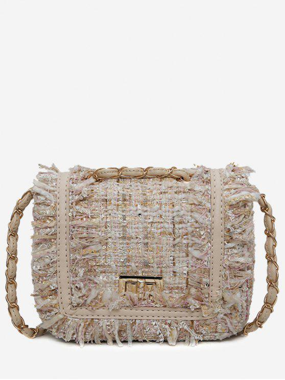 affordable Color Block Plaid Frayed Edge Crossbody Bag - OFF-WHITE