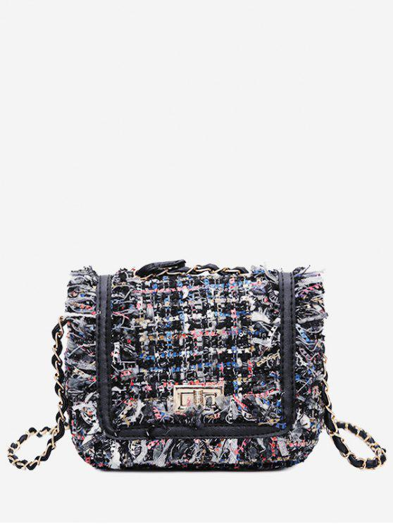 women's Color Block Plaid Frayed Edge Crossbody Bag - BLUE