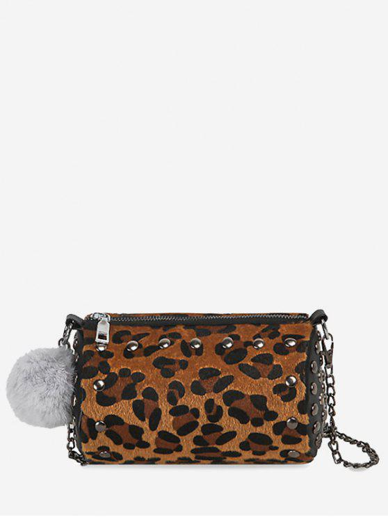 Studs Pompom Chain Crossbody Bag - Objectifs Or Léopard