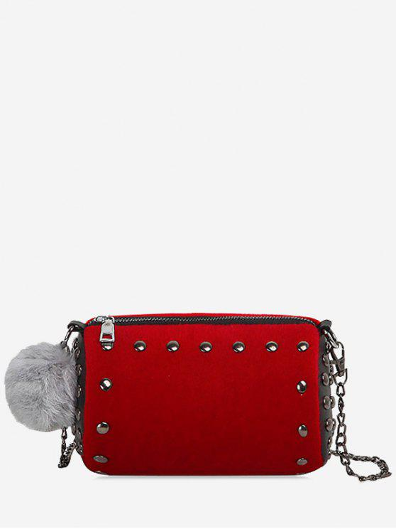 hot Studs Pompom Chain Crossbody Bag - RED
