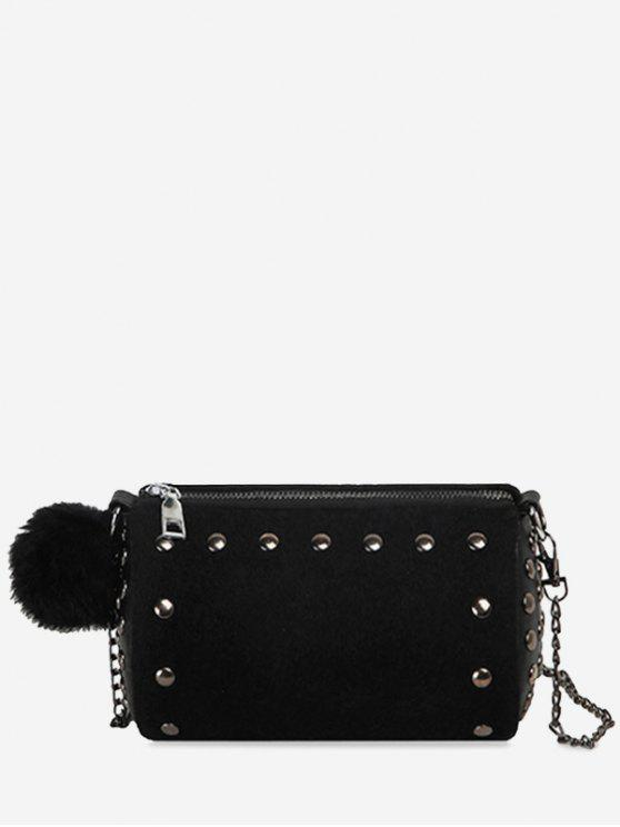 Studs Pompom Chain Crossbody Bag - Noir