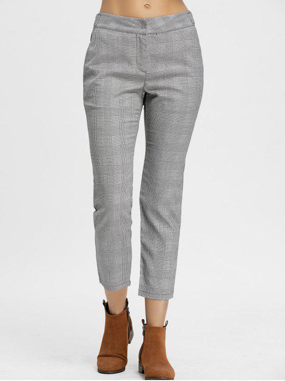 new Zig Zag Plaid Pants - GRAY S