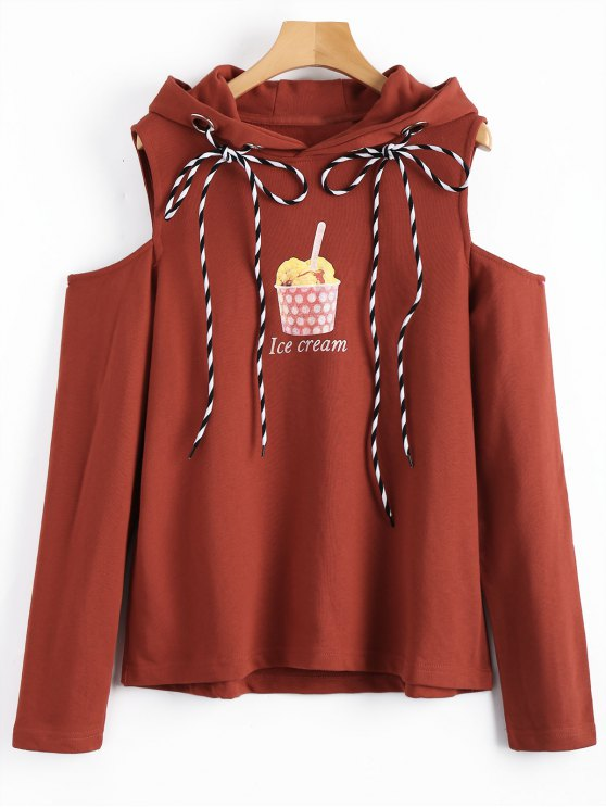 Ice Cream Graphic Cold Shoulder Hoodie - Rojo ladrillo L