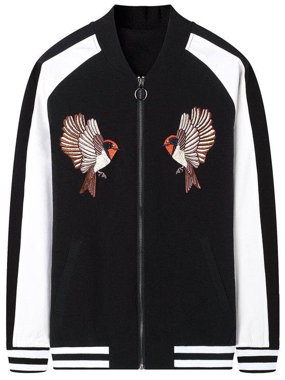 Zipper Bird bordado jaqueta de bombardeiro - Preto 2XL