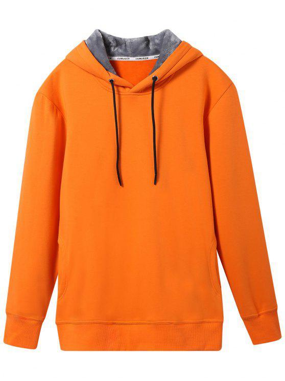women's Pullover Soft Woolen Lining Hoodie - ORANGE XL