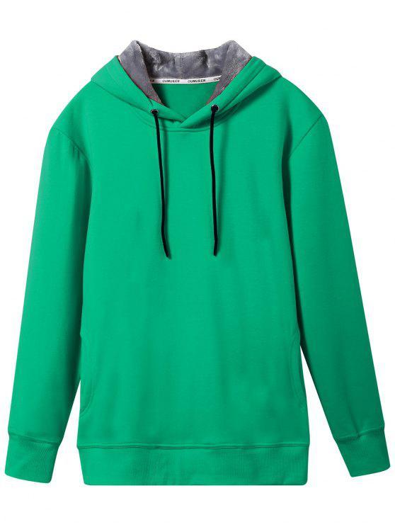 trendy Pullover Soft Woolen Lining Hoodie - GREEN 3XL