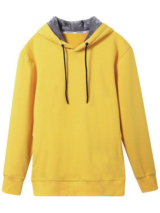 chic Pullover Soft Woolen Lining Hoodie - YELLOW XL