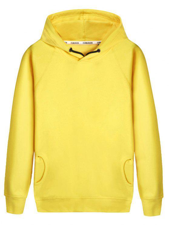 hot Pullover Raglan Sleeve Hoodie - YELLOW L