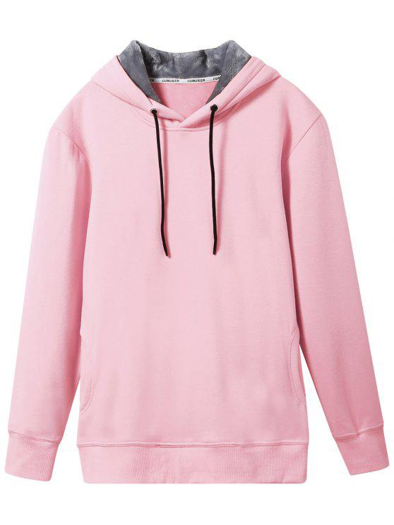 fashion Pullover Soft Woolen Lining Hoodie - PINK L