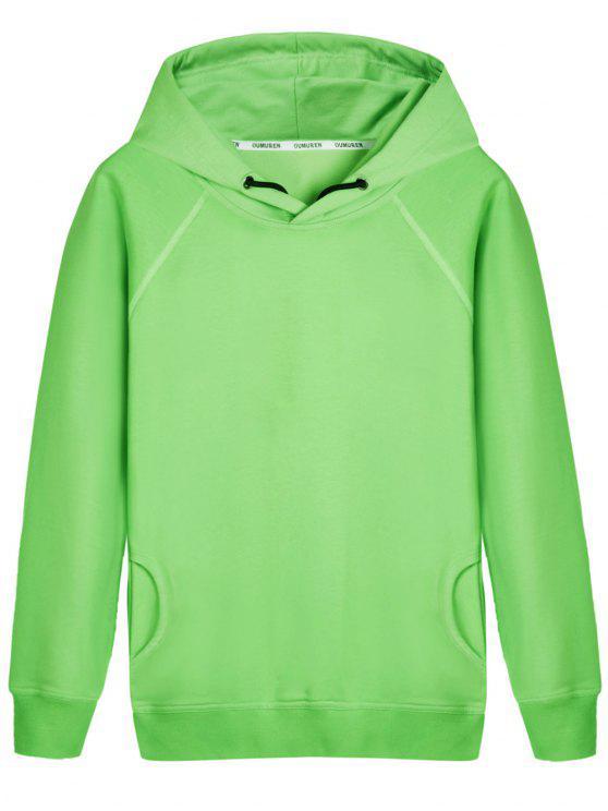 Pullover Raglanärmel Hoodie - LIGHT GREEN 2XL