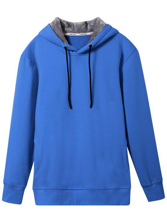 trendy Pullover Soft Woolen Lining Hoodie - BLUE 3XL