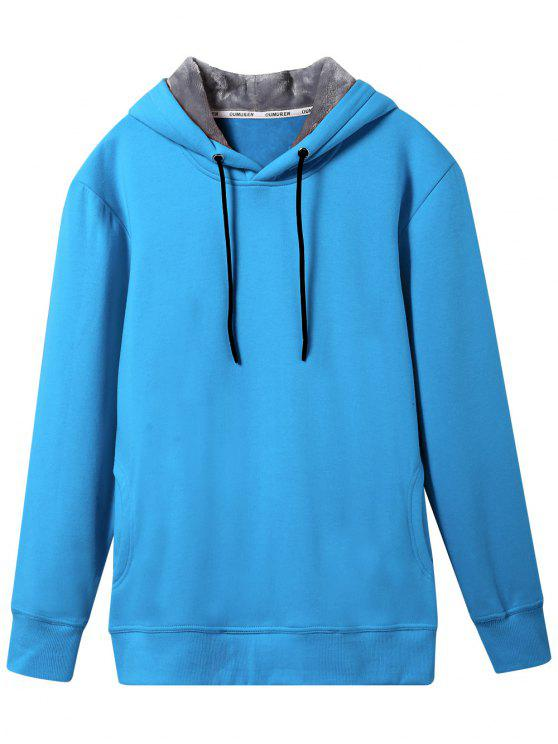 hot Pullover Soft Woolen Lining Hoodie - LAKE BLUE 3XL