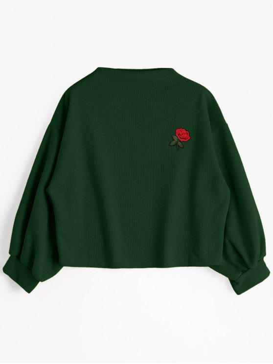 trendy ZAFUL Lantern Sleeve Rose Embroidered Patches Sweatshirt - DEEP GREEN ONE SIZE