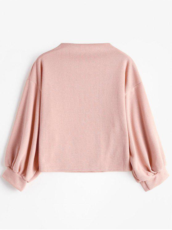 shirt Rose Brodée Zaful Manches Patch À LanternesPâle Sweat T1clKJF
