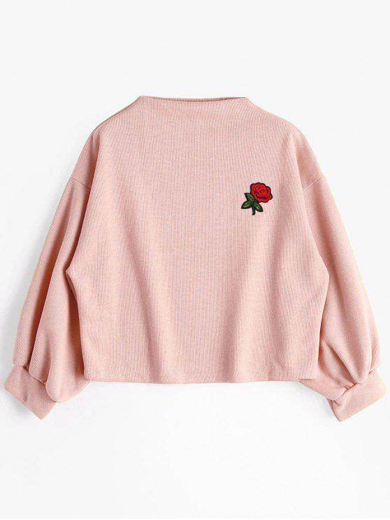fashion Lantern Sleeve Rose Embroidered Patches Sweatshirt - PINK ONE SIZE